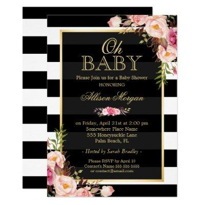 Oh Baby Shower Black Gold Vintage Floral Decor Invitations