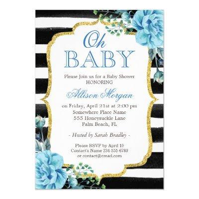 Oh Baby Shower Blue Floral Gold Black Stripes Invitations
