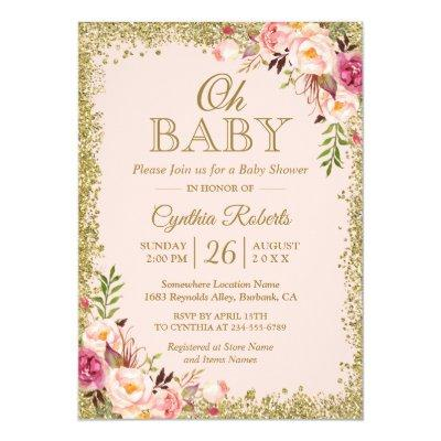Oh Baby Shower - Blush Pink Gold Glitters Floral Invitation