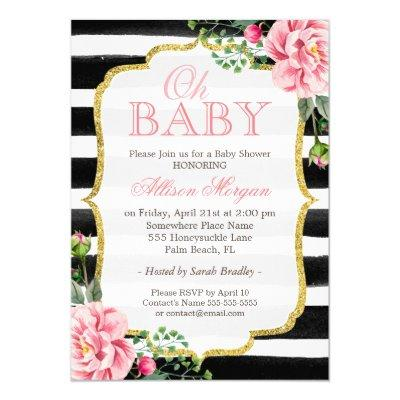 Oh Floral Gold Black White Stripes Invitations