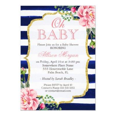 Oh Baby Shower Floral Gold Navy Blue Stripes Invitations