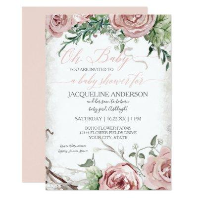 Oh Baby Shower Girl BOHO Watercolor Flower Crown Invitations