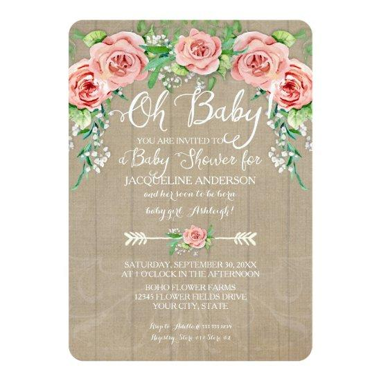 Oh Girl Flower Crown Barn Wood Boards Invitations