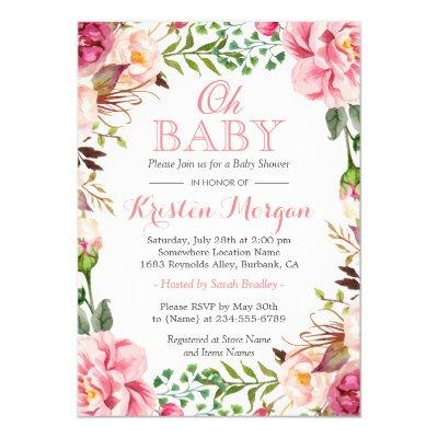 Oh Baby Shower Girly Elegant Chic Pink Flowers Invitation