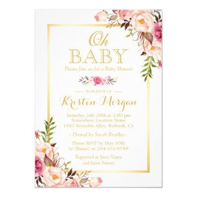 Oh Baby Shower Graceful Chic Floral Gold Frame Invitations