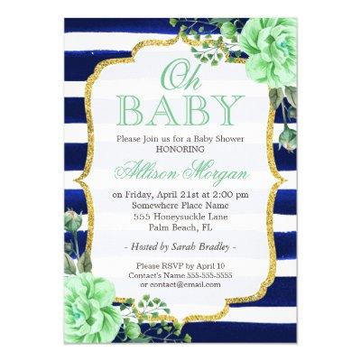 Oh Baby Shower Mint Floral Gold Navy Stripes Invitation