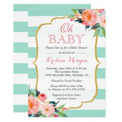 Oh Baby Shower Mint Green Stripes Pink Floral Invitations