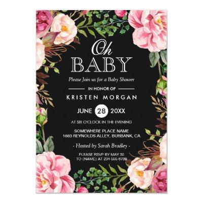 Oh Baby Shower Modern Beautiful Floral Wreath Wrap Invitations