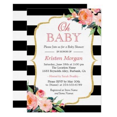 Oh Baby Shower Modern Floral Gold Frame Stripes Invitations