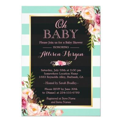 Oh Baby Shower Pink Floral Mint Green Stripes Invitation