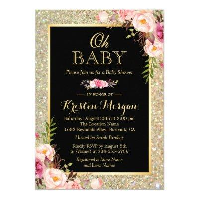 Oh Shiny Gold Glitter Sparkles Floral Invitations