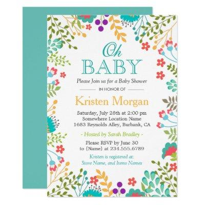 Oh Spring Floral Teal Green Invitations