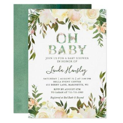 Oh Baby Shower Typography Floral Greenery White Invitations