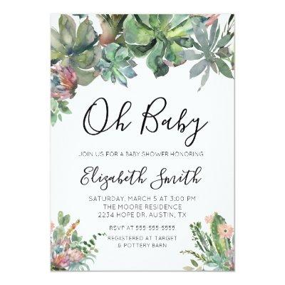 Oh Baby Succulent Baby Shower Invitation