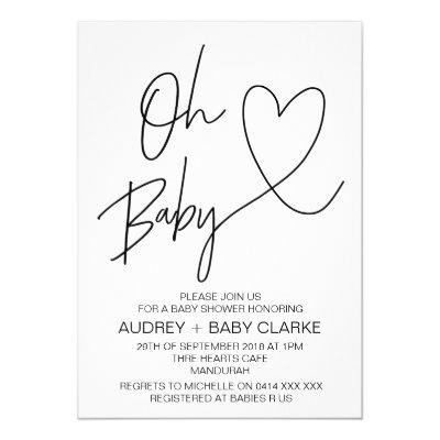 Oh Baby - Unisex Baby Shower Invitation