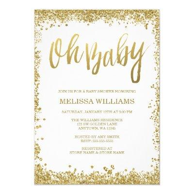 Oh Baby White Gold Glitter Invitations