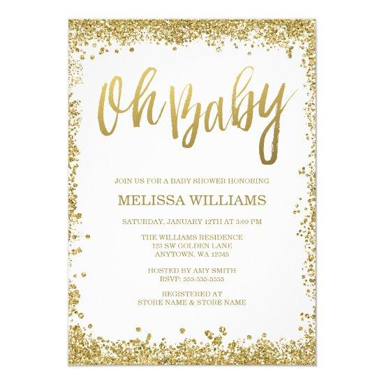 Oh Baby White Gold Glitter Baby Shower Card