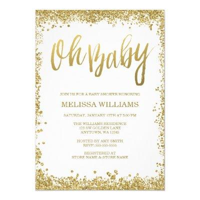 Oh Baby White Gold Glitter Baby Shower Invitations