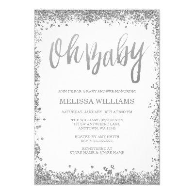 Oh Baby White Silver Glitter Baby Shower Invitation