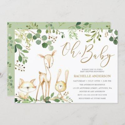 Oh Baby Woodland Animals Greenery Baby Shower Invitation