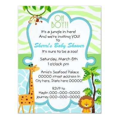 oh boy animal print baby shower Invitations