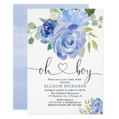 Oh Boy baby shower blue floral watercolors Invitations