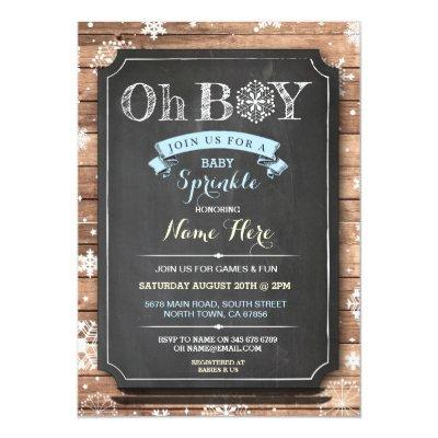 OH BOY Baby Shower Wood Winter Sprinkle Invite