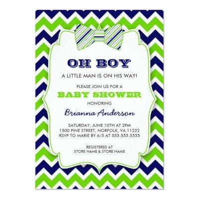 OH BOY Bow tie / navy green chevron Invitations