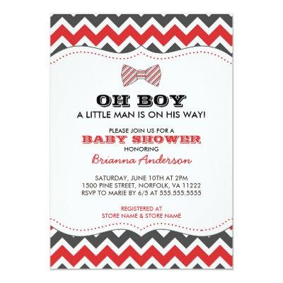 OH BOY Bowtie baby shower invites / red gray grey