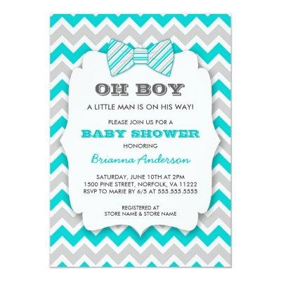 OH BOY Bowtie baby shower / turquoise gray chevron Invitations