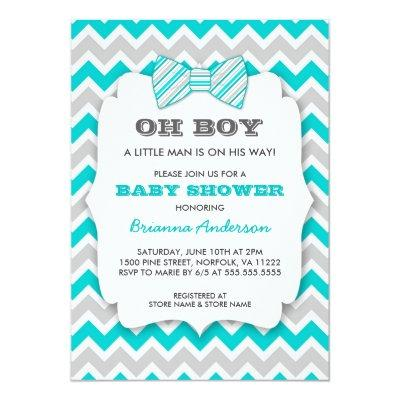 OH BOY Bowtie baby shower / turquoise gray chevron Invitation