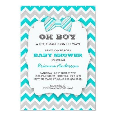 OH BOY Bowtie baby shower / turquoise gray chevron Invitations