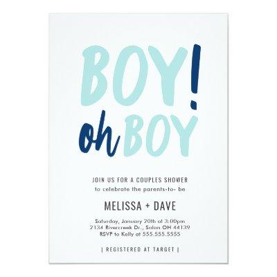 Oh Boy Couples Co-Ed Baby Shower Invitations