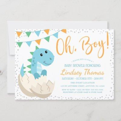 Oh Boy Dinosaur Baby Shower Invitation