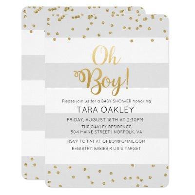 Oh Boy Glitter Confetti Baby Shower Invitation
