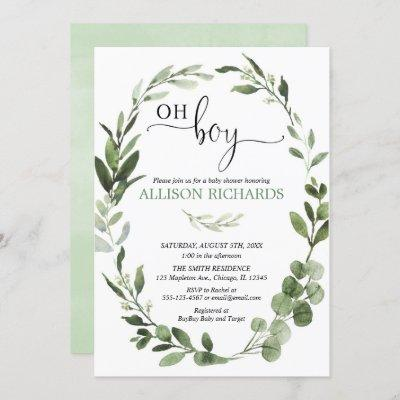 Oh Boy Greenery eucalyptus foliage baby shower Invitation