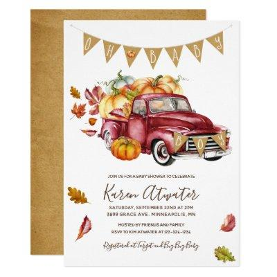 Oh Boy Little Pumpkin Fall Baby Shower Invitation