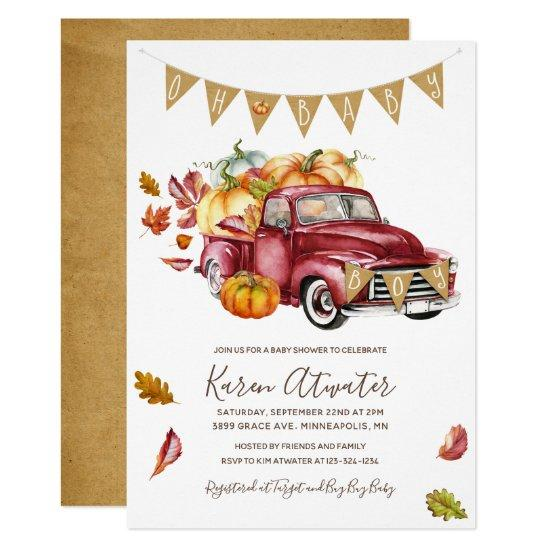 Oh Boy Little Pumpkin Fall Baby Shower Invitations