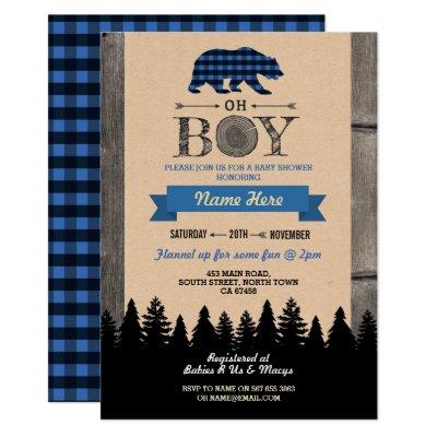Oh Boy Lumberjack Baby Shower Blue Bear Invite