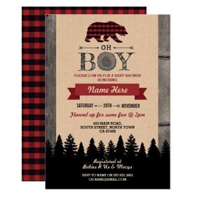Oh Boy Lumberjack Baby Shower Red Bear Invite