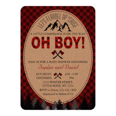 Oh Boy Lumberjack Red Buffalo Baby Shower Invite