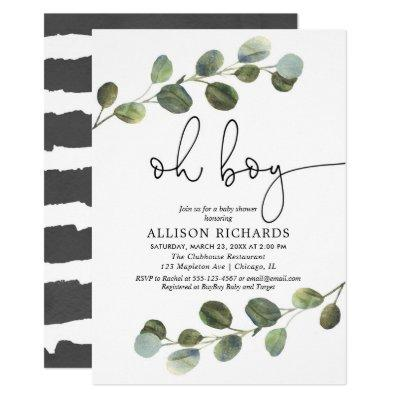 Oh boy modern eucalyptus black white baby shower invitation