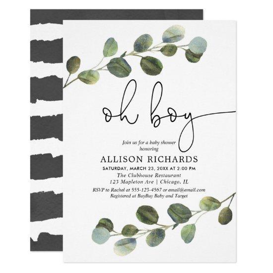 Oh boy modern eucalyptus black white baby shower invitation