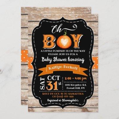 """""""Oh Boy"""" Pumpkin Baby Shower Invitation"""