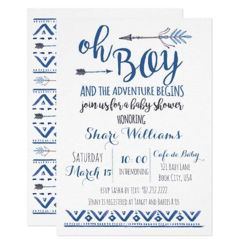 Oh Boy Tribal Baby Shower Invitations -CUSTOM