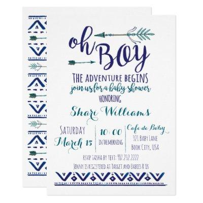 Oh Boy Tribal Baby Shower Invitations - TEAL CUSTOM