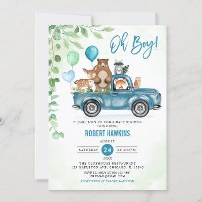 Oh Boy! Woodland Animals Blue Truck Baby Shower Invitation
