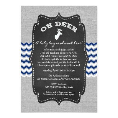 Oh Deer Buck Baby Sprinkle navy gray white Invitations