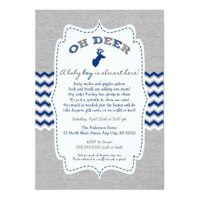 Oh Deer Buck Baby Sprinkle navy grey white Invitations