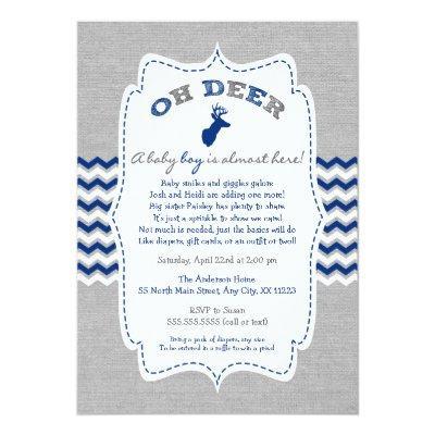Oh Deer Buck Baby Sprinkle navy grey white Invitations